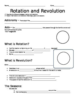 Rotation and Revolution Guided Notes