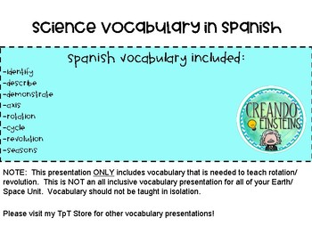 Rotation and Revolution - SPANISH Vocabulary