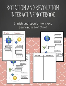 Rotation and Revolution, Space Cycles Interactive Notebook English, Spanish SPED
