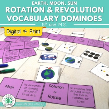 Rotation and Revolution in Earth-Moon-Sun System Vocabulary Dominoes