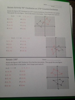 Rotation on Coordinate Grid Activity