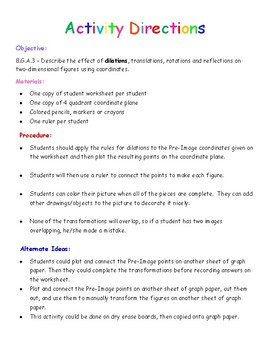 Dilations puzzle - Transformation Art activity - CCSS 8.G.A.3 and 8.G.A.4