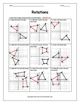 Transformations: Rotations Worksheet Bundle by Funsheets4math | TpT