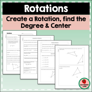 Rotations Worksheet Constructions Find Center Degree Function ...