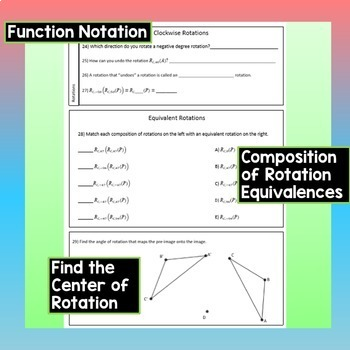 Rotations Worksheet Constructions Find Center Degree Function Notation
