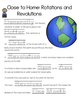 Rotations and Revolution Earth Cycles Notes (SPED, English, Spanish, ESOL) PREZI