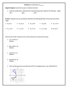Rotations in the Coordinate Plane PDF