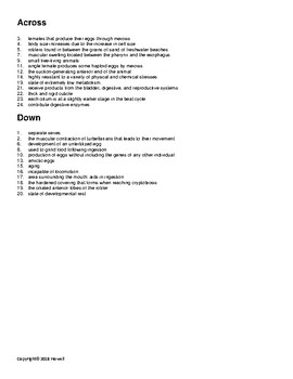 Rotifers Vocabulary Crossword for Invertebrate Biology