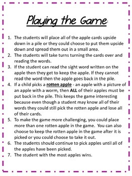 Rotten Apple Dolch First Grade Sight Word Game