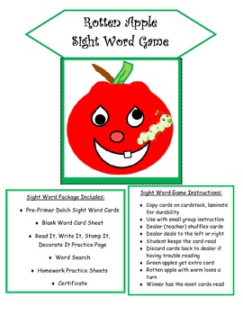 Rotten Apple Pre-Primer Sight Word Game