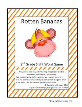 Second Grade Sight Word Game - Rotten Bananas