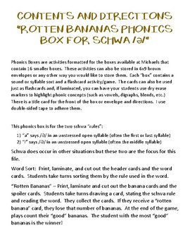 Rotten Bananas Phonics Box for Schwa