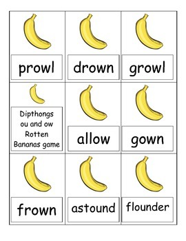 Rotten Bananas Review Game for Diphthongs ou and ow