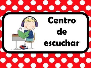 Rotulos para los centros del salon/Spanish classroom center signs