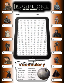 Rouge One Star Wars Word Search / Identify Activity