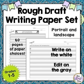 Rough Draft Writing Paper Set - Rough Draft Paper that REALLY Helps with Editing