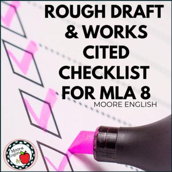 Rough Draft and Works Cited Checklist for MLA 8 (Fillable PDF / Google Slides)