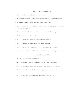 Roughing it and a Fable Vocabulary Quiz Worksheet