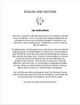 Rouler une histoire - creative writing package for French Immersion