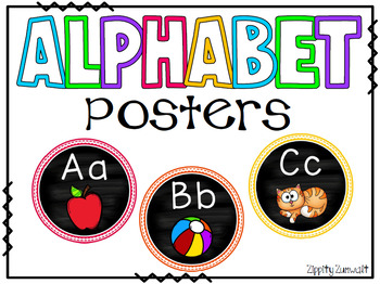 Alphabet Posters - Round w/chalkboard background