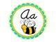 Round Alphabet Signs in Yellow-Blue-Green Theme {D'nealian Cursive}