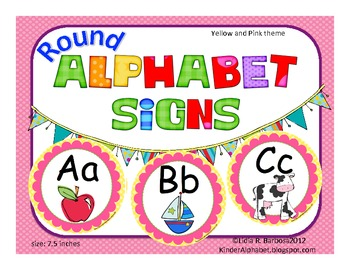 Round Alphabet Signs in yellow polka dots and pink
