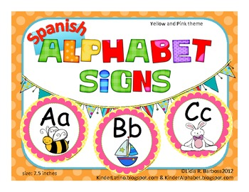 Round Alphabet Signs in yellow polka dots and pink {SPANISH}