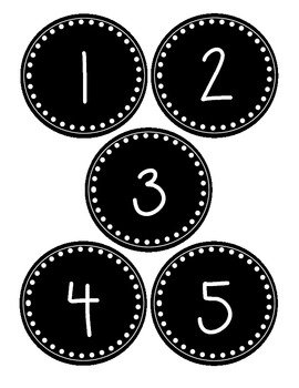 Round Black and White Number Labels