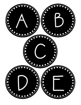 Round Black and White Word Wall Labels