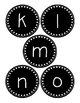 Round Black and White Word Wall Labels - Lowercase