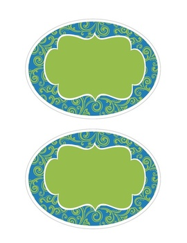 Round Blue & Green Labels