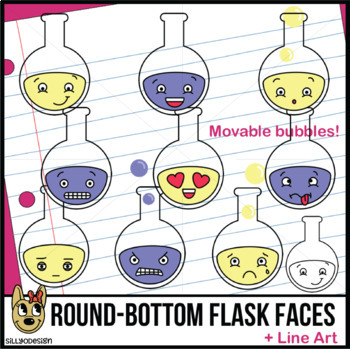 Round-Bottom Flask Faces Clip Art