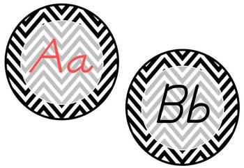 Word Wall Headers: Round Chevron pattern (includes D'Nealian)