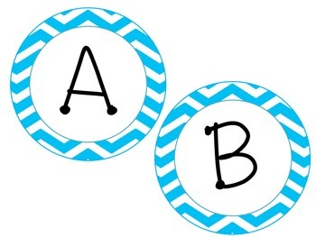 Round Chevron Word Wall Letters in Black and Light Blue