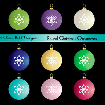 Round Christmas Ornaments Clipart