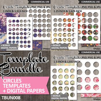 "Round Circle Blank Templates Bundle Vol. 8 / DIY collage 1"", 1.25"", 1.5"""