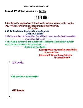 Round Decimals Note Sheet