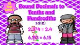 Round Decimals to Tenths and Hundredths Task Cards- TEKS 5.2C