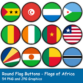 Round Flag Buttons - Flags of Africa