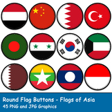 Round Flag Buttons - Flags of Asia