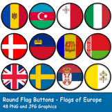 Round Flag Buttons - Flags of Europe