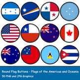 Round Flag Buttons - Flags of North & South America & Oceania
