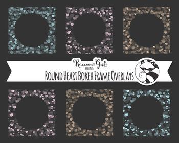 Round Heart Bokeh Frame Overlay Clip Art Set