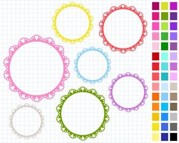 Round Hearts Digital Frames Pack, Frames Clipart, 43 Frames