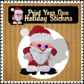Santa Print Your Own Round Stickers