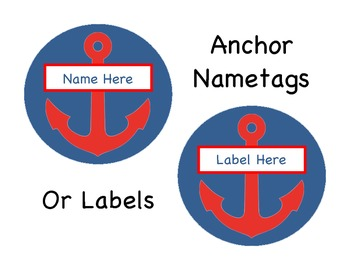 Round Nautical Anchor Nametags/Labels Blue and Red!