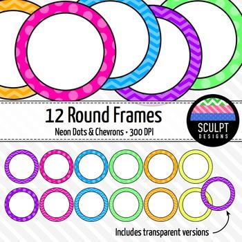 Round Neon Frames ~ Chevrons & Dots