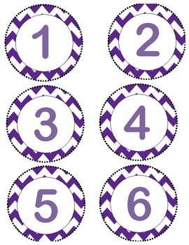 Round Numbered Labels 1-51 on Purple/White Chevron Background