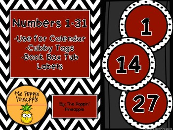 Round Numbers 1-31 (dark red with polka dots)