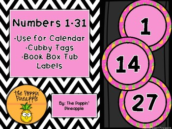 Round Numbers 1-31 (pink pineapples)